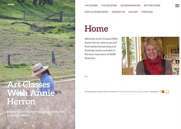 Art Classes With Annie Herron Website Design
