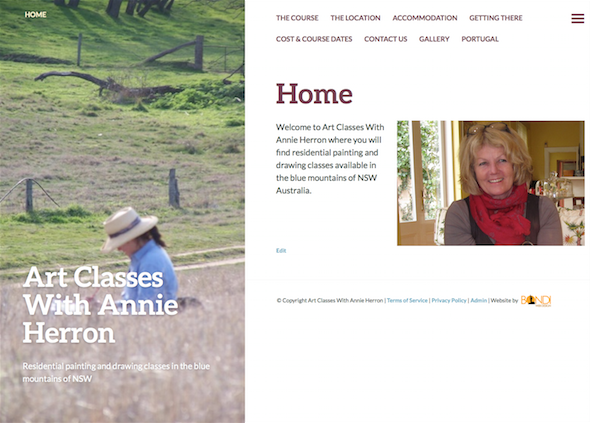 Art Classes With Annie Herron Website Design