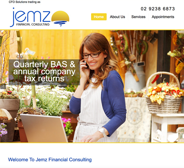 Jemz Financial Consulting One Page Website