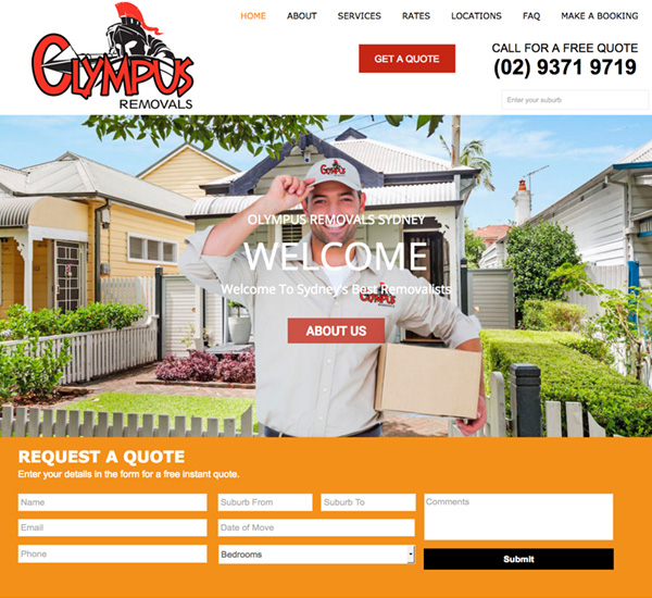 Olympus Removals Sydney Website Design